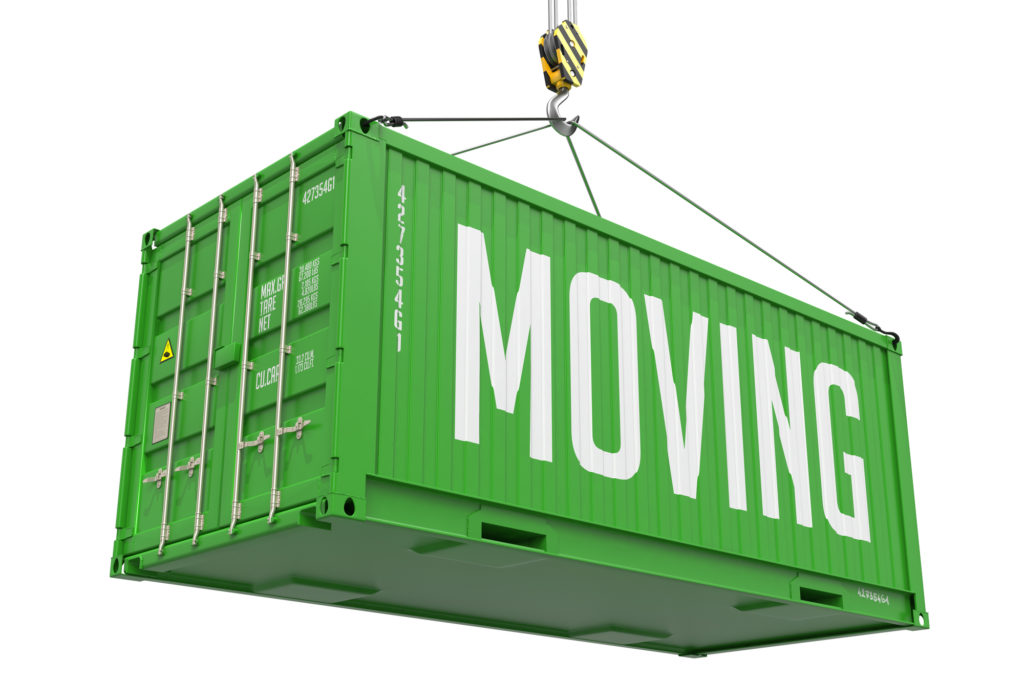 Moving - Green Cargo Container hoisted by hook, Isolated on White Background.